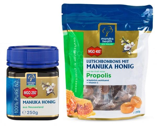 Manuka Health Manuka Honig MGO 250+ und Lutschbonbons Propolis MGO 400+ 500g