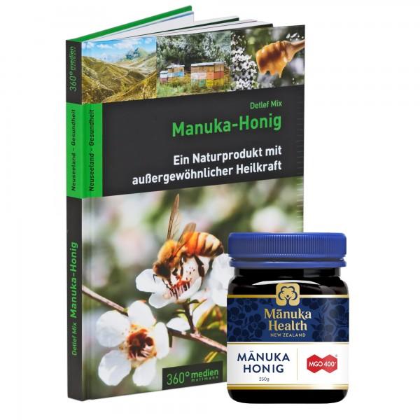 Manuka Honig Starterset Haddrell's Manuka Honig UMF 10+ (MGO 250+) 250g + Manuka Buch Detlef Mix