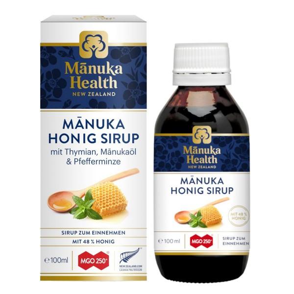 Manuka Health Manuka Honig Sirup MGO 250+ 100 ml mit Thymian, Manukaöl und Pfefferminze