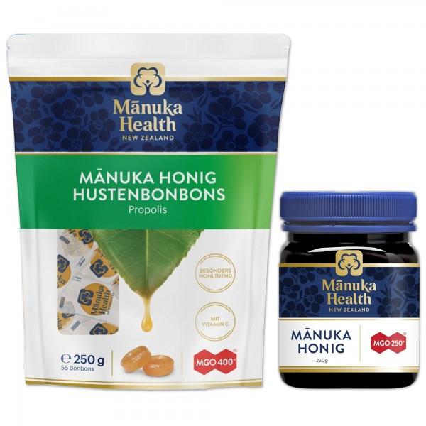 Manuka Health Manuka Honig MGO 250+ 250g und Lutschbonbons Propolis MGO 400+ 250g
