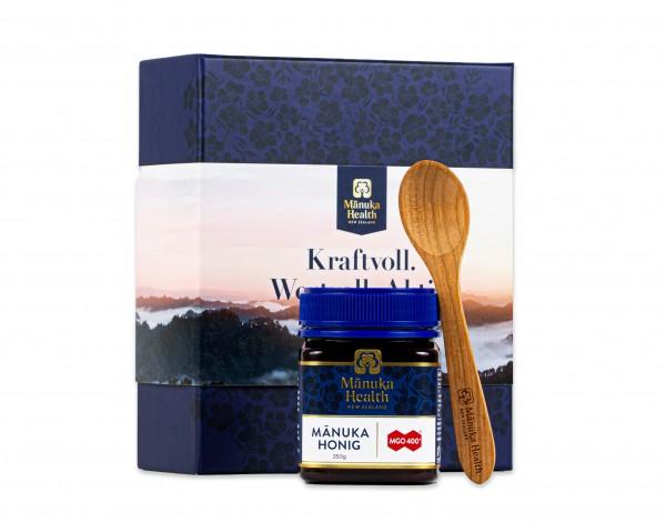 Manuka Health edle Geschenkbox - Manuka Honig 400+ 250g und Kirschholzlöffel