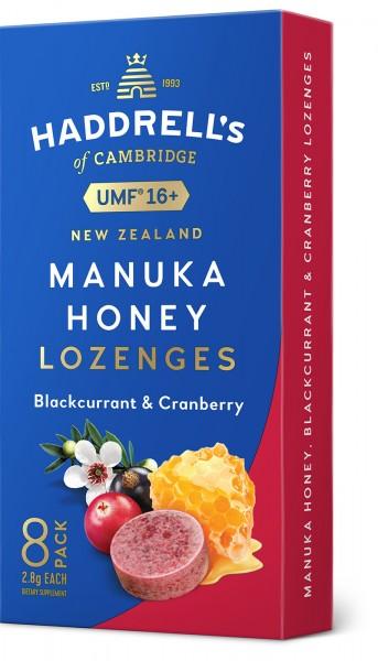 Haddrell's Lutschbonbons Schwarze Johannisbeere & Cranberry mit Manuka Honig UMF 16+ (MGO 550+)