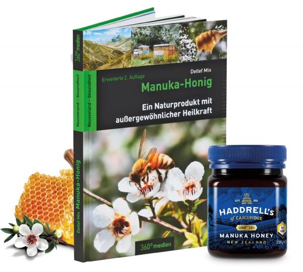 Heilpraktiker-Set: Haddrell's Manuka Honig MGO 550+ (UMF 16+) 250g + Manuka Buch Detlef Mix